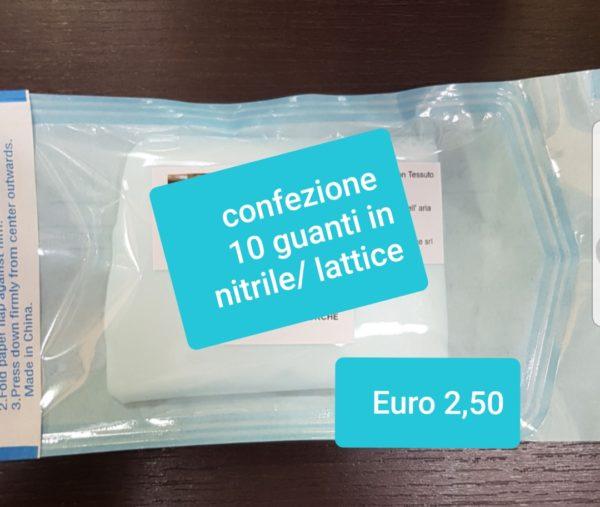 confezione 10 guanti in nitrile/lattice